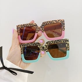 fashion frosted square leopard print color matching children's sunglasses NHBA353611