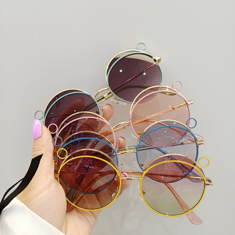 Fashion Cute Metal Round Frame Children's Sunglasses  NHBA353616's discount tags