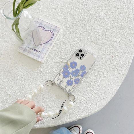 fashion pearl chain blue daisy mirror mobile phone case  NHFI353700's discount tags