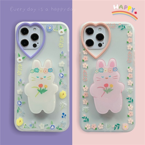 Korean Flower Heart Bunny Stand Mobile Phone Case NHFI353722's discount tags