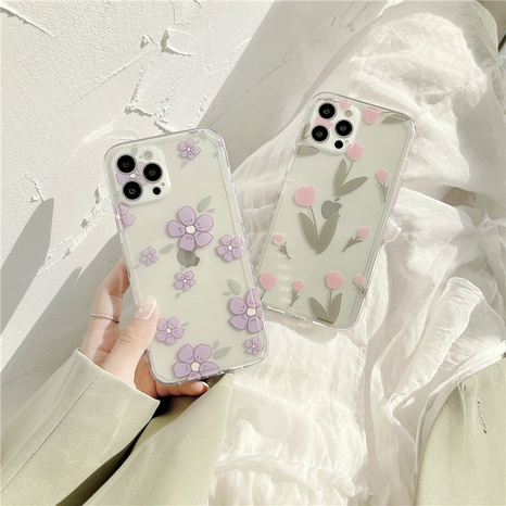 fashion side heart oil painting purple flowers mobile phone case NHFI353726's discount tags