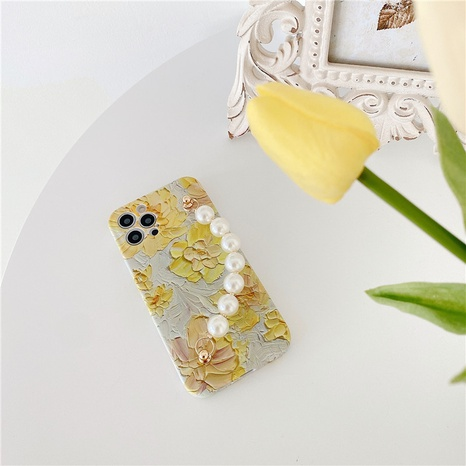 fashion oil painting yellow flower pearl bracelet mobile phone case  NHFI353729's discount tags