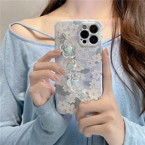 retro light blue flower chain mobile phone case  NHFI353741's discount tags