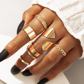 new fashion punk style exaggerated geometric ring 6-piece set NHGY354770
