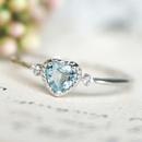 fashion new style simple sea blue topaz heartshaped ring NHKL354010