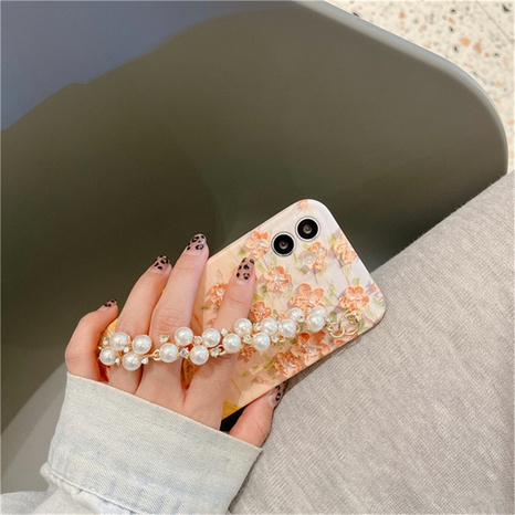 fashion oil painting sunset flowers pearl bracelet mobile phone case  NHFI353727's discount tags