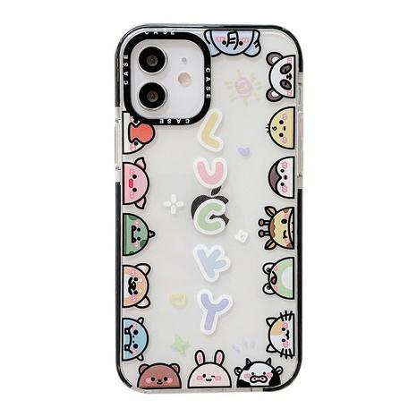 cartoon contrast color animal printing transparent mobile phone case  NHFI353720's discount tags