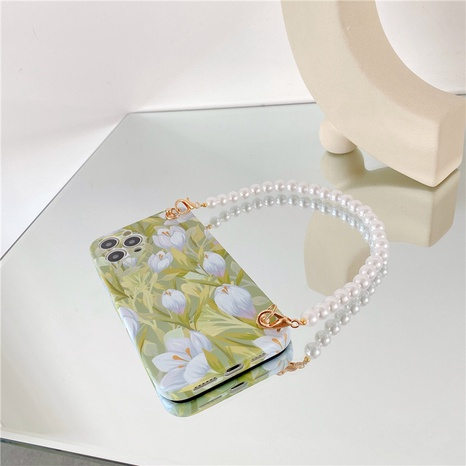 Korean tulip printing pearl chain mobile phone case  NHFI353714's discount tags