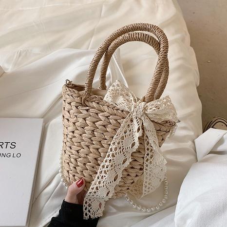 Mode Perle Kette Schleifen Dekor Stroh Eimer Tasche NHJZ354224's discount tags