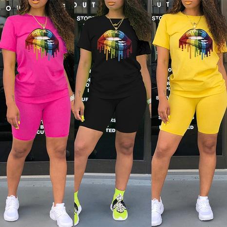 mode décontracté couleur grande bouche imprimé t-shirt à col rond short deux pièces NHZN354319's discount tags