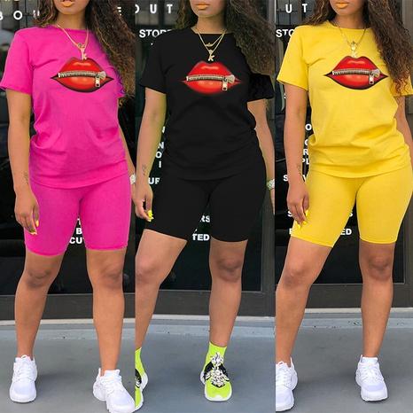 T-shirt à col rond imprimé avec fermeture à glissière et grande bouche rouge deux pièces NHZN354317's discount tags