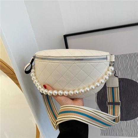 bolso de la cintura del pecho de la cadena de perlas rómbicas de moda NHLH354352's discount tags