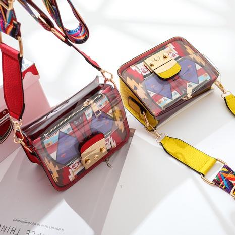 Mode transparente Bonbonfarbe lustige breite Umhängetasche mit breitem Schultergurt NHASB354399's discount tags