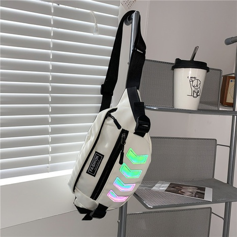 riñonera de hombro diagonal reflectante de hip-hop NHXC354498's discount tags