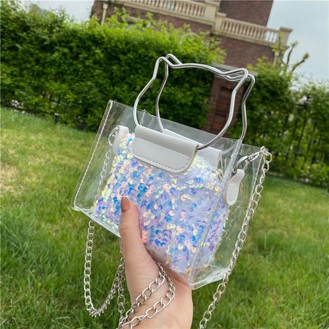 fashion chain transparent colorful sequins messenger bag  NHXC354505's discount tags