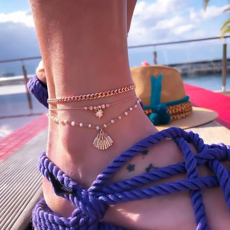 korean fashion style alloy shell pendant women's anklet NHAJ354750's discount tags