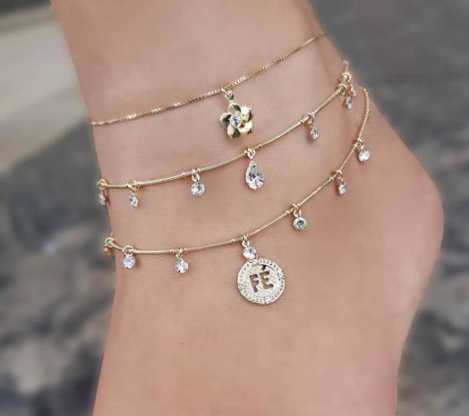 korean fashion style water drop diamond flower anklet NHAJ354735's discount tags
