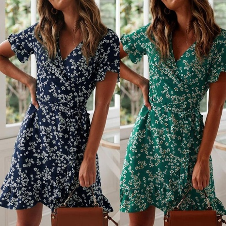 robe fleurie à manches courtes à col en V et à volants NHUO354695's discount tags