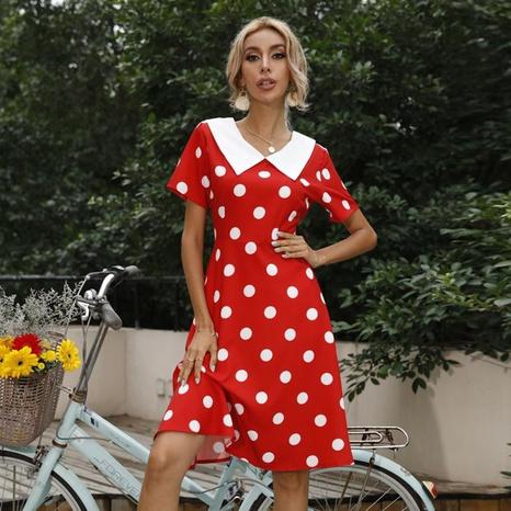 robe rétro à manches courtes à gros revers et imprimé à pois NHUO354693's discount tags