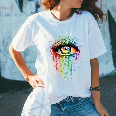 T-shirt ample en coton à manches courtes et col rond NHZN354684's discount tags