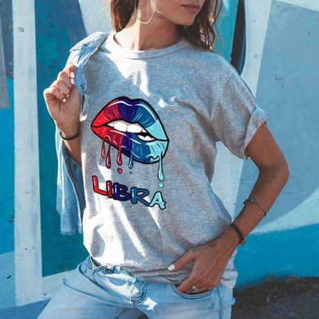 T-shirt ample en coton à manches courtes et imprimé lèvres à col rond NHZN354682's discount tags
