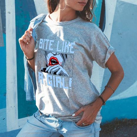 T-shirt ample à manches courtes et col rond imprimé lettre coréenne NHZN354673's discount tags