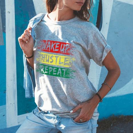 T-shirt ample en coton à manches courtes et imprimé lettre à col rond NHZN354669's discount tags