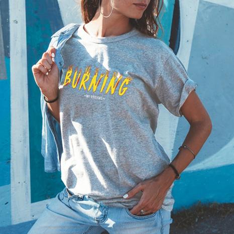 T-shirt ample en coton à manches courtes et imprimé lettre à col rond NHZN354667's discount tags