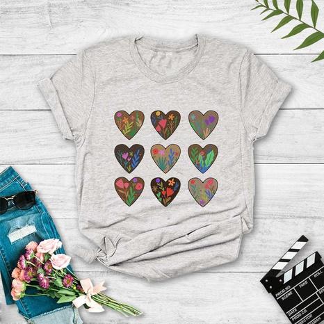 T-shirt à manches courtes imprimé de coeur nouveau style de plante de mode NHZN354611's discount tags