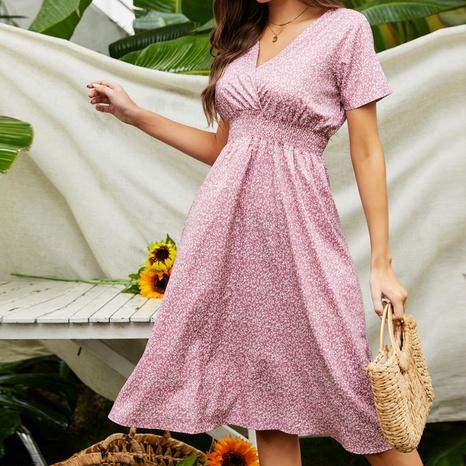 Nouvelle robe fleurie à col en V NHZN354609's discount tags