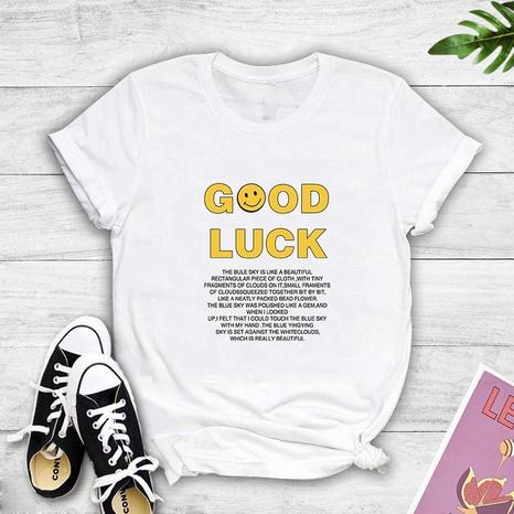 T-shirt à manches courtes imprimé de visage souriant avec lettre anglaise NHZN354607's discount tags