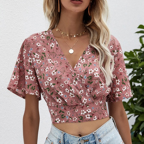 Chemise en mousseline de soie rose à manches courtes à fleurs croisées NHZN354606's discount tags