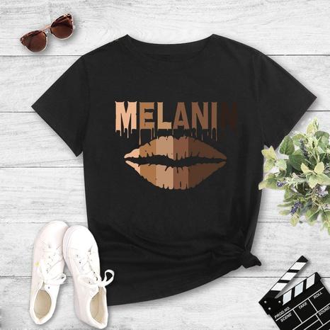 T-shirt à manches courtes imprimé à la mode et lettre décontractée NHZN354599's discount tags