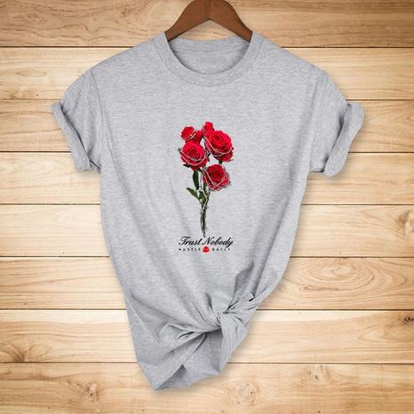 t-shirt décontracté à manches courtes imprimé rose rouge NHZN354597's discount tags