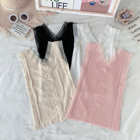 gilet en tricot de couleur unie en dentelle creuse à la mode NHZN354588's discount tags