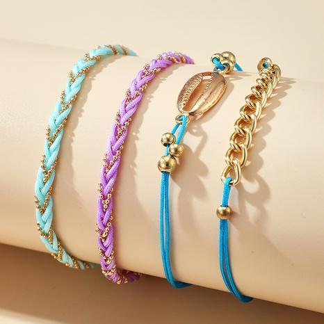 nuevo conjunto de cuatro piezas de tobillera de cuerda tejida a mano de color simple concha de moda NHGY355446's discount tags