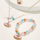 fashion style new donut crystal beads bracelet necklace ring set NHNU355438