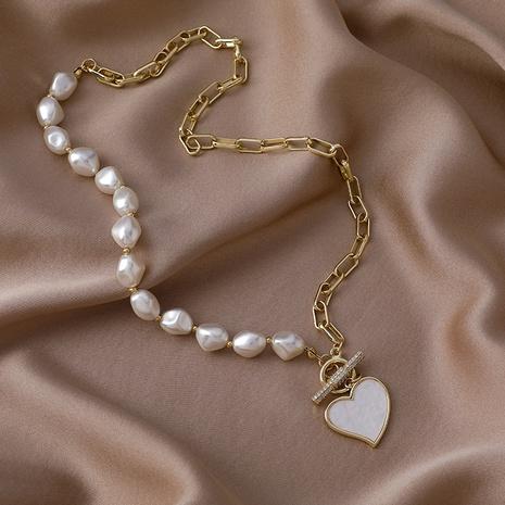 Collar de cadena colgante de perlas blancas de corazón coreano NHMS354984's discount tags