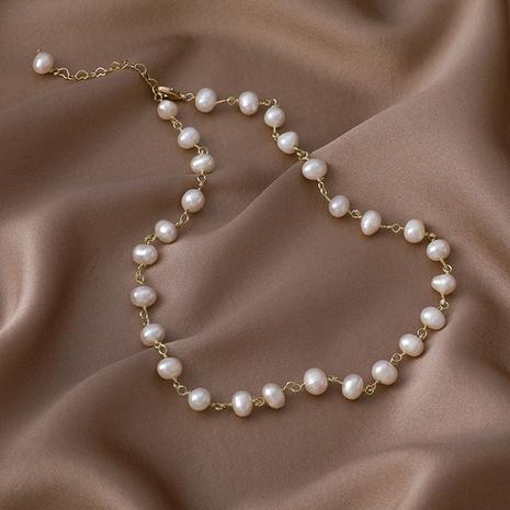 collar de perlas de agua dulce con bobinado de alambre de cobre retro NHMS354990's discount tags