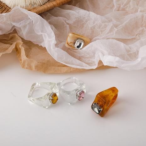 Anillo de acrílico transparente cuadrado irregular de piedras preciosas de color de moda de Corea NHMS354995's discount tags