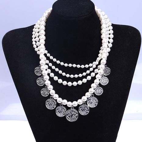 collar retro de múltiples capas con cadena de perlas y monedas NHYAO355008's discount tags