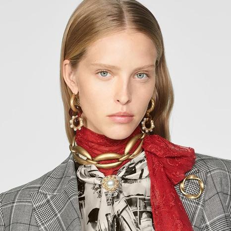 aleación de moda con incrustaciones de oro collar de cadena gruesa pulsera al por mayor NHYAO355011's discount tags