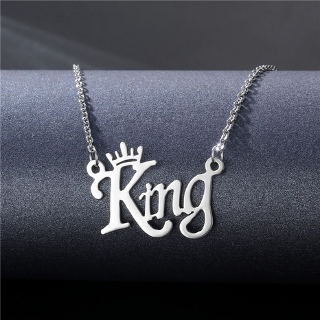 hip-hop stainless steel glossy letter pendant necklace wholesale NHAC355034's discount tags
