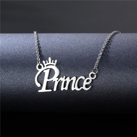 fashion letter pendent stainless steel couple necklace wholesale  NHAC355040's discount tags