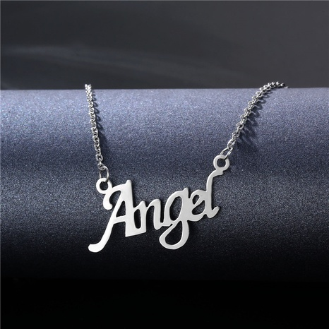 Simple Stainless Steel English Letter Angel Necklace  NHAC355043's discount tags