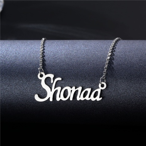 simple English letter name pendent stainless steel necklace  NHAC355044's discount tags