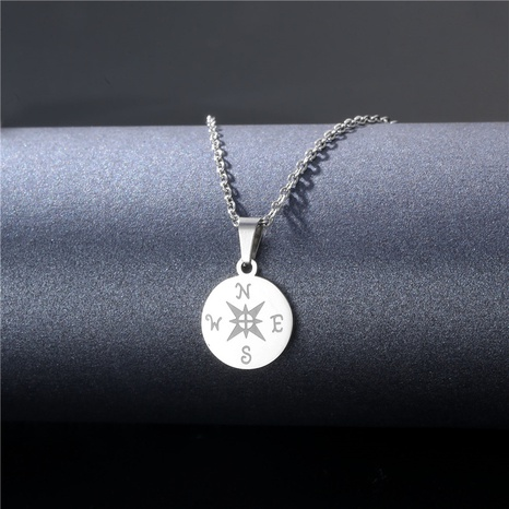 simple stainless steel compass round pendent necklace NHAC355045's discount tags