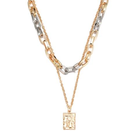 Collar multicapa de cadena de empalme de doble color de moda NHBD355052's discount tags