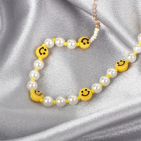 Mode Smiley Gesicht Perle Perlen Schlüsselbein Kette NHRN355061's discount tags