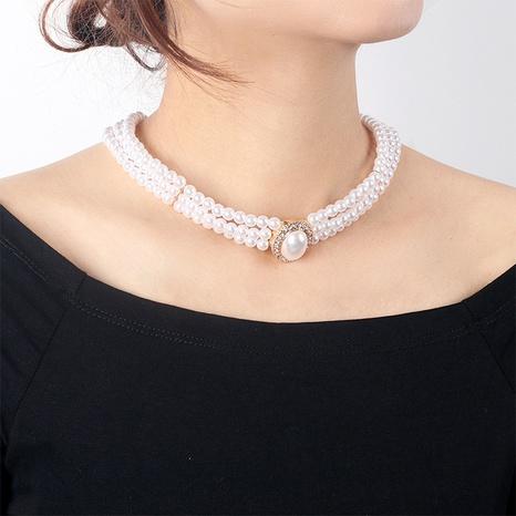 Collar multicapa de perlas ovaladas geométricas retro NHRN355062's discount tags